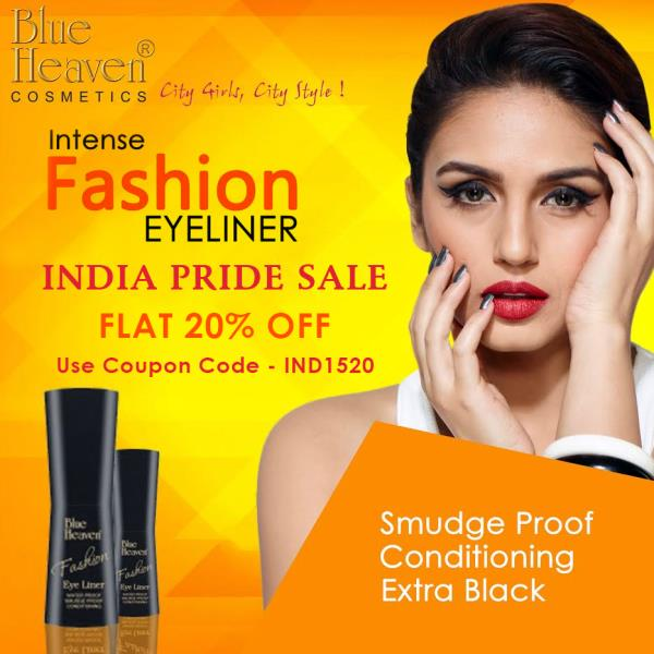 On the joyous occasion of our 70th Independence Day, we bring Blue Heaven's INDIA PRIDE SALE !! FLAT 20% OFF on your favorite Fashion Eyeliner.  Shop Here - http://bit.ly/Fashion_Eyeliner