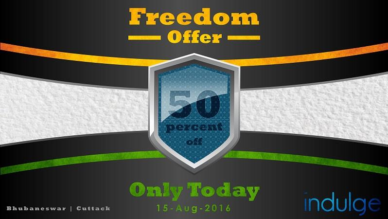 Freedom Offer: 50% off on all Salon Services only Today (15-Aug-2016). - by Indulge The Salon, Bhubaneswar