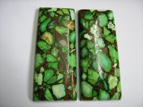 Green Copper Turquoise Cabochons - by Pumpkin International, Jaipur