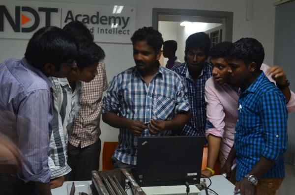 Eddy-current testing uses electromagnetic induction to detect flaws in conductive materials. There are several limitations, among them: only conductive materials can be tested, the surface of the material must be accessible, the finish of t - by NDT Academy Private Limited, Chennai