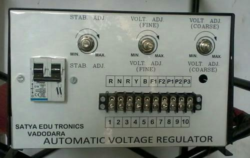 Automatic voltage regulators (AVR) that are used for brushless alternators. These alternators, to maintain its terminal voltage require these regulators. Our range of standard automatic voltage regulators can be used for 415V, 3-phase brushless alternator of 1000/1500 RPM speed and the excitation requirement is within 100dc & 6Adc. The automatic voltage regulators comprises of half-wave controlled rectifier. These rectifiers supply DC voltage to the alternators. These automatic voltage regulators can be tailor made as per the specification detailed by the clients.  Automatic Voltage Regulators in vadodara Gujarat