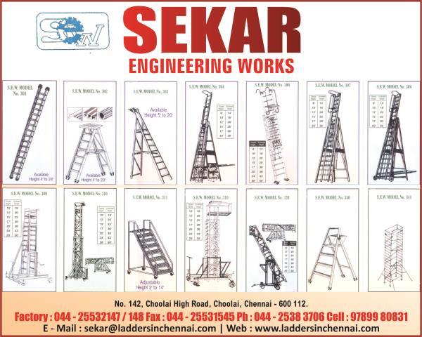 ALUMINIUM SCAFFOLDING  RENTAL IN CHENNAI ALUMINIUM SCAFFOLDING  DEALERS IN CHENNAI INDUSTRIAL LADDER MANUFACTURERS IN CHENNAI ALUMINIUM LADDER MANUFACTURERS IN CHENNAI - by SEKAR ENGINEERING WORKS 9791034320, Chennai