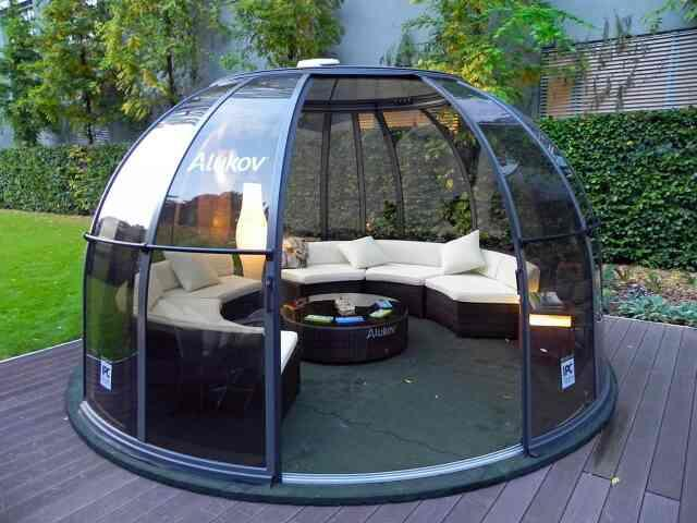 This sitting/smoking enclosure allows for absolute privacy and even looks great with the medieval surroundings...  😊 For More Info   www.arcwaytensilestructures.com   Arcway - Glass House Manufacturers in Delhi  - by Arcway Tech Structures, New Delhi