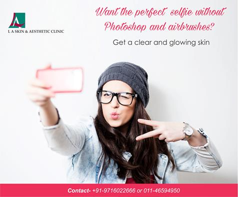 Want the perfect selfie without Photoshop and airbrushes? Get a clear and glowing skin only at L A Skin & Aesthetic Clinic. Book an appointment today. ‪#‎laskin‬ ‪#‎la‬ ‪#‎laskinandaesthetic‬ ‪#‎laclinic‬ ‪#‎ladermatology‬ ‪#‎dermatologyind - by L A Skin & Aesthetic Clinic, New Delhi