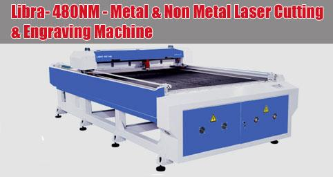 Libra- 480NM - Metal & Non Metal Laser Cutting & Engraving Machine  Features of Laser Engraving Machine Libra-480NM  X, Y Axis adopt round rail and belt transmission to make machine more stable Stable and full equipped design concept, equip - by MEHTA CAD CAM SYSTEMS PVT LTD, Ahmedabad