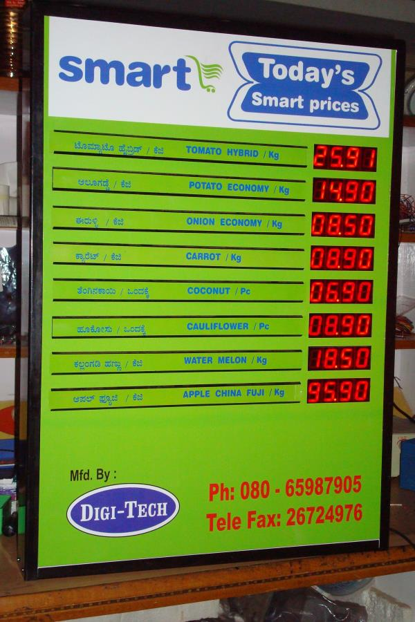 Price Display Board very much useful in displaying prices of the products Rates can be changed easily with the help of remote Very elegant design to suit the aesthetics. Gives very dignified look to the stores