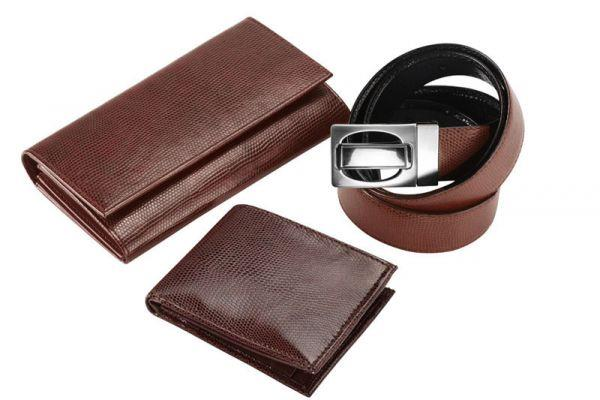 KK 70203 Leatherite Lizard Gents wallet Gents Belt Ladies Wallet Keyring - by Kakkoo Birdy's -Leather Gift Items, New Delhi