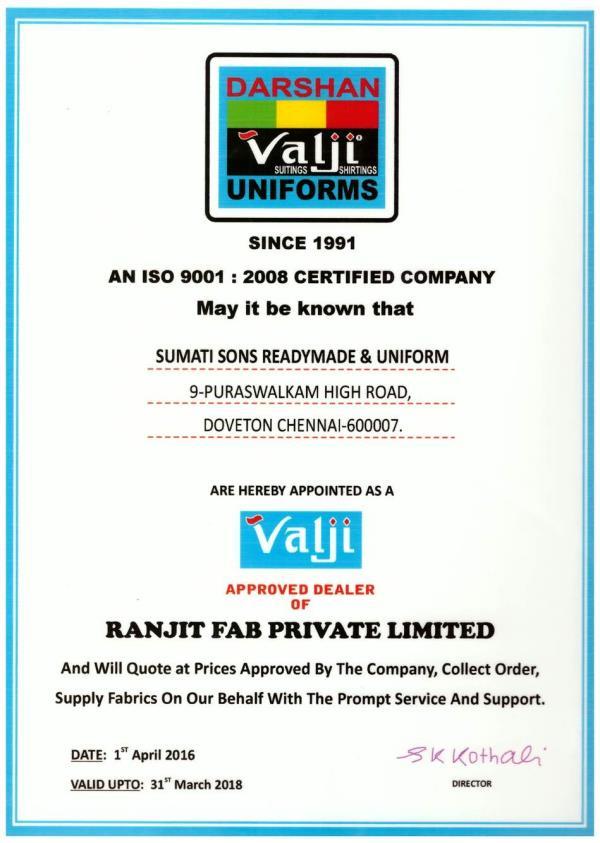 We are Authorised Dealers For Valji Uniforms. We are Authorised Suppliers For Valji Uniform Materials. We are Authorised Seller For Valji Uniform Fabrics  - by SUPERSTAR UNIFORMS, Chennai