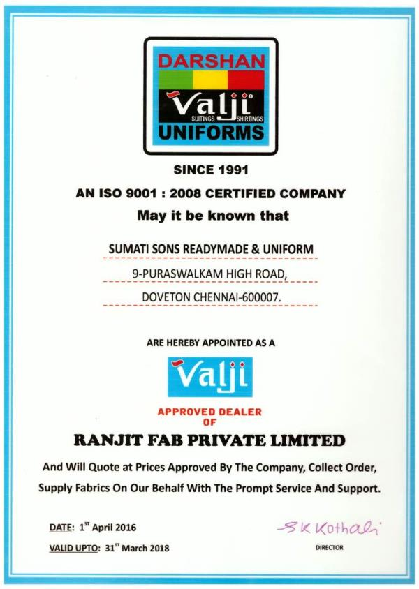 We Are Authorised Dealers For Valji Uniforms. We Are Authorised Suppliers For Valji uniform Materials. We are Authorised Dealer For Valji Uniform Fabrics in Chennai - by Sumatisons Readymade & Uniforms, Chennai