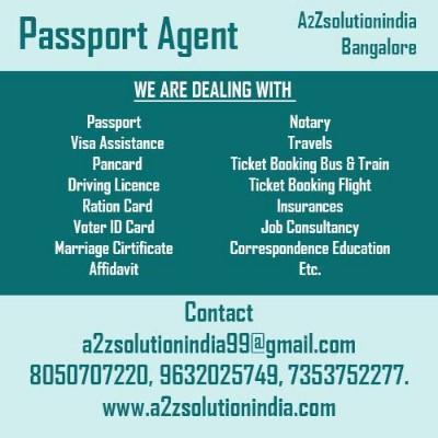 best service provider for passport and marriage certificate through out bangalore. call now 9071767779 - by A2Z Solutionindia.com, Bangalore