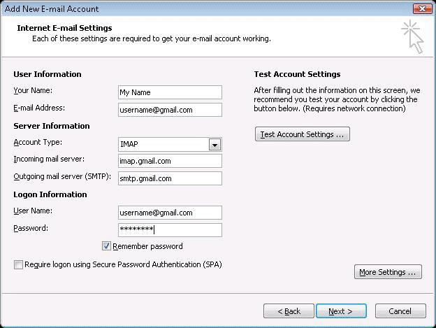GOOGLE APPS RESELLER #How to configure outlook 2007 with Google Apps or Gmail? 1. Open Outlook. 2. Click the Tools menu, and select Account Settings… 3. On the E-mail tab, click New… 4. If you are prompted to Choose E-mail Service, select Microsoft Exchange, POP3, IMAP, or HTTP, and click Next. 5. Enter your display name, email address (abc@yourdomain.com), and password. Google Apps users, enter your full email address, e.g. 'username@yourdomain.com.' 6. Select the 'Manually configure server settings or additional server types' checkbox. 7. Select Internet E-mail. 8. Settings: name, full email address (abc@yourdomain.com) In the Account Type dropdown menu, select IMAP. In the 'Incoming server name' section, enter: imap.gmail.com In the 'Outgoing server name (SMTP)' section, enter: smtp.gmail.com. In the 'User Name' field : Type your full email address, abc@yourdomain.com -After creating these settings, clicking Next takes you to the end of the setup. 9. Click More Settings, then the Advanced tab. Incoming server must be 993, and must use SSL encryption. Outgoing server can use 587, TLS encryption. 10. Click the Outgoing Server tab. Make sure that 'My outgoing server (SMTP) requires authentication' is selected. The radio button 'Use same settings as my incoming mail server' should also be selected. 11. Click OK > Next > Finish > Close > OK.
