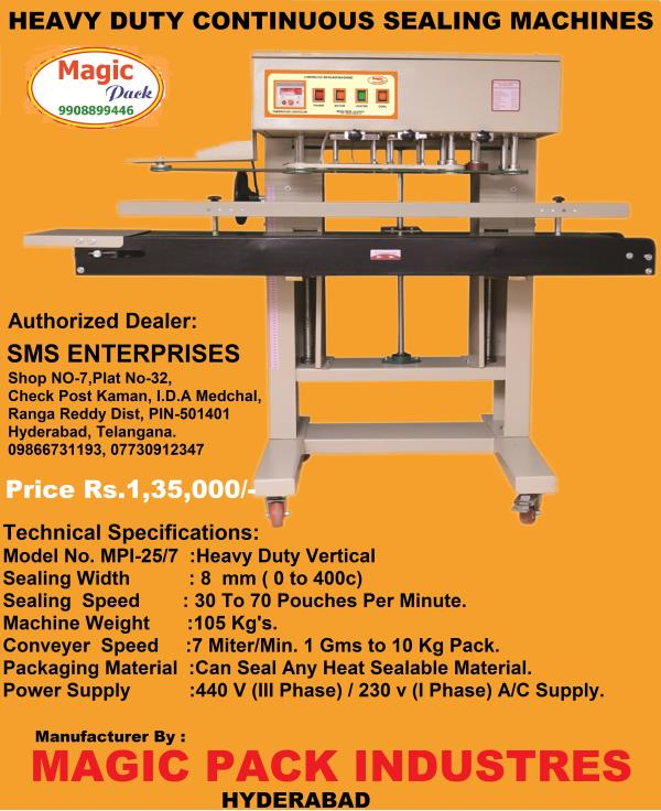 we are the leading manufacture of sealing machines in telangana www.magicpack.in - by SMS ENTERPRISES, Hyderabad