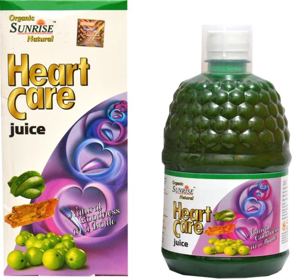 Organic Heart Care Juice:                                  Organic Sunrise Natural Heart Care Juice May help / support to maintains cholesterol level, control blood pressure, improves pumping capacity of the heart. Rich in natural anti-oxid - by Sunrise Agriland-- Manufacturer Of Herbal products, Jaipur