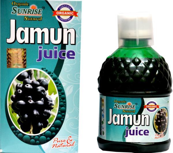 Organic Jamun Juice:-                                Organic Sunrise Natural Jamun Juice other names: Jambul, Black Plum, Java Plum, India Blackberry, Jamblang etc. The botanical name is Syzgium cumini. Jamun Juice acts as a diuretic and gi - by Sunrise Agriland-- Manufacturer Of Herbal products, Jaipur