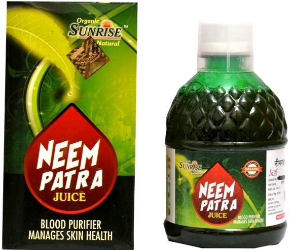 Organic Neem Patra Juice:-->                                 Organic Sunrise Natural Neem Patra Juice has several health benefits.Neem is beneficial for the body, skin and hair. Its bitter taste makes it difficult for people to swallow. Con - by Sunrise Agriland-- Manufacturer Of Herbal products, Jaipur