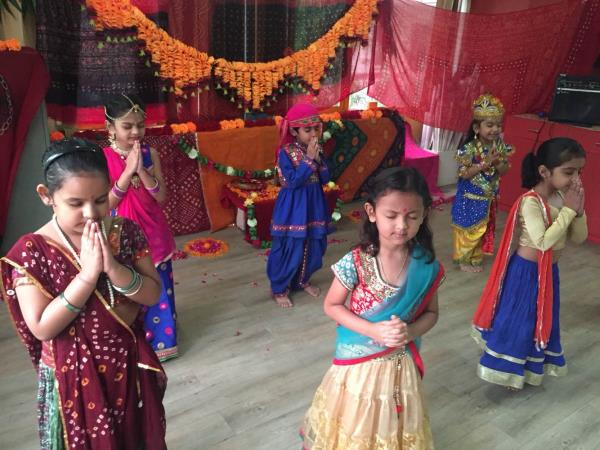 Janmashtami celebration at Olive Green Kids School, Navrangpura. It was wonderful to have all our dads and moms enjoying the event - by Olive Green Kids School, Ahmedabad