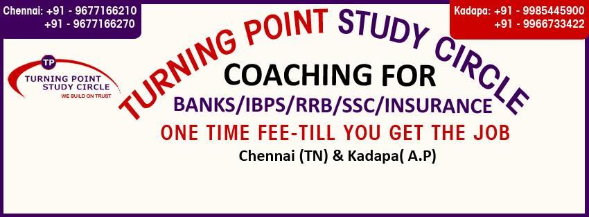 Best Coaching Center for IBPS Bank Exams in Chennai. Turning Point Study Circle is the best coaching center for IBPS bank exams in Chennai. Because if you compare our coaching center result ratio with any other coaching center result ratio, - by Bank Exam Coaching Center- Turning Point study Circle 9677166270, Chennai