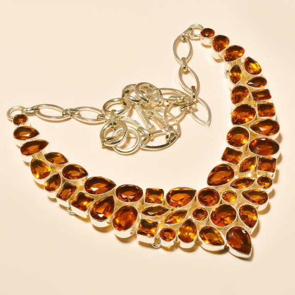 Silver Necklace In Jaipur / Citrine Faceted Gemstone Necklace / Necklace In India / Yellow Necklace / Gemstone Nacklace - by Ahan Jewels, Jaipur