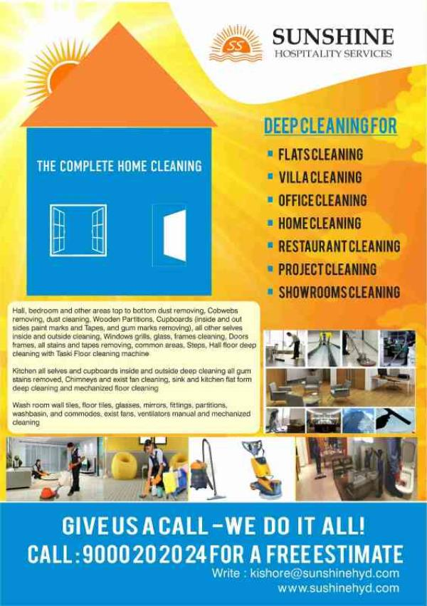 Sunshine home cleaning - by SUNSHINE FACILITIES PVT LTD, Hyderabad