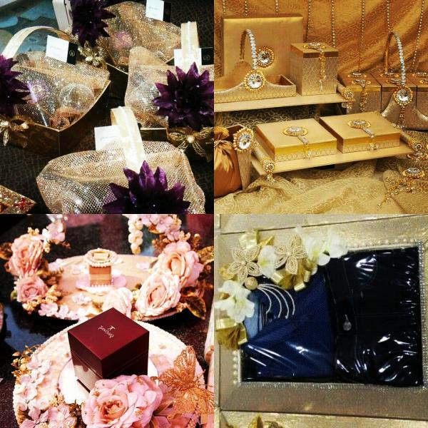 Wedding trousseau packing for elegant Gifting to your family and friends. Packing ideas for gifting jewellery, clothing, cosmetics, wine and champagne. InspiredWeddingDecor  - by Pankhuri Florist, Kanpur Nagar