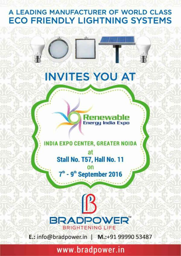BRADPOWER EXHIBITING THEIR SOLAR PANEL, SOLAR CHARGE CONTROLLER, SOLAR INVERTER, LED STREET LIGHT AND OTHER RELATED ACCESSORIES AT RENEWABLE ENERGY EXPO, GREATER NOIDA.  FOR MORE INFO WWW.BRADPOWER.IN - by Bradpower solar panel @9999810099, Greater Noida