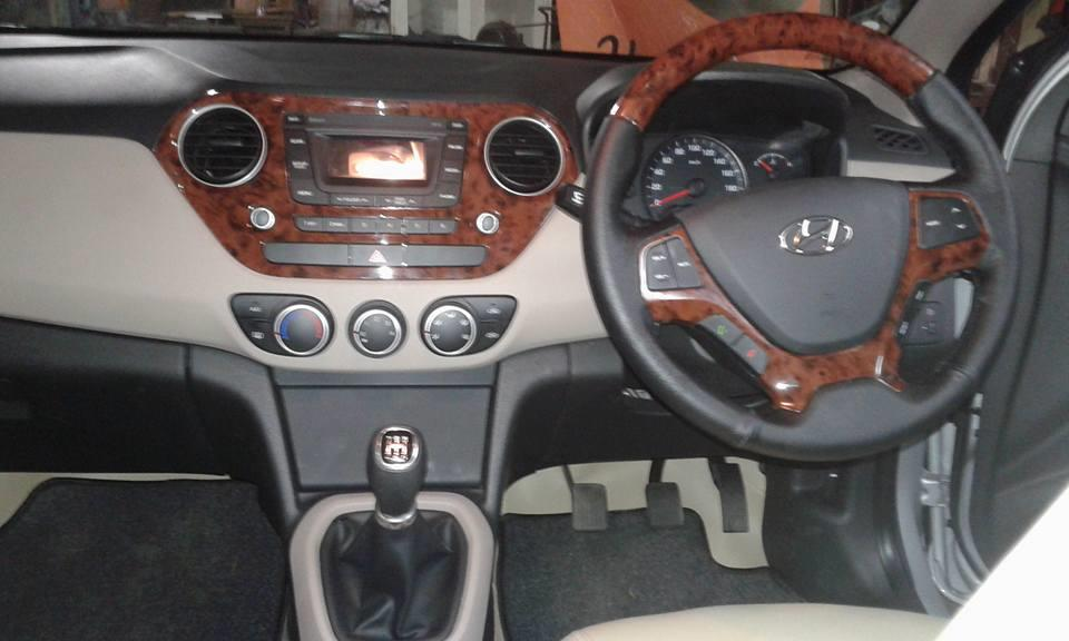 hyundai xcent with wooden finish