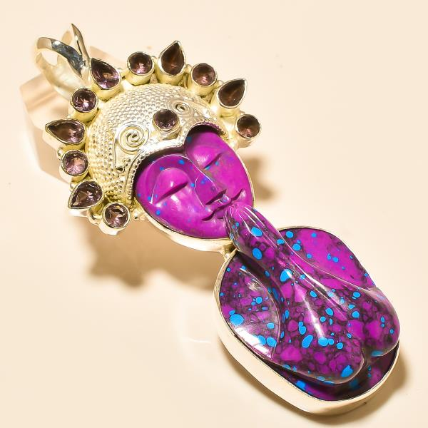 Silver Pendant in india PURPLE TURQUOISE PRAYING LADY , AMETHYST Silver Pendant  - by Ahan Jewels, Jaipur