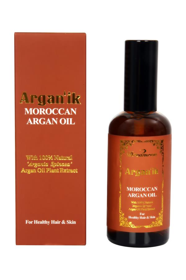 Argan'ik Moroccan Argan oil  Argan'ik Argan oil contains, Vitamin E, phenols, Carotenes, antioxidants and a very high amount of unsaturated fatty oils etc.These are very essential for the greater nourishment of hair & wrinkled/scaly dry ski - by Dreamron India Inc, Bangalore