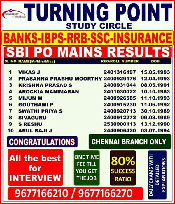 Turning Point Study Circle is one of the best bank exam coaching center in Chennai. We conduct bank coaching at  regular and early morning, evening batches. Weekend classes is also conducted. For admission related queries feel free to conta - by Bank Exam Coaching Center- Turning Point study Circle 9677166270, Chennai