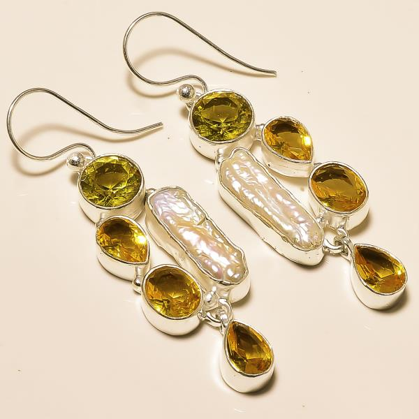 Earring in india - silver earring in jaipur - citrine faceted gemstone pearl gemstone earring - by Ahan Jewels, Jaipur