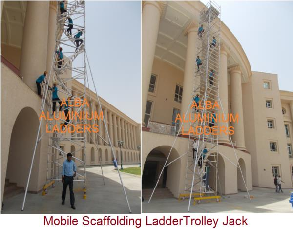 ALUMINIUM SCAFFOLDING Multi-purpose and light weight, scaffolds in ameerpet can be used as static or mobile towers and facade scaffolds with other limitless applications. Able to reach a maximum height of 20mtr, bigger base for added stabil - by Alba Aluminium Ladders, Hyderabad