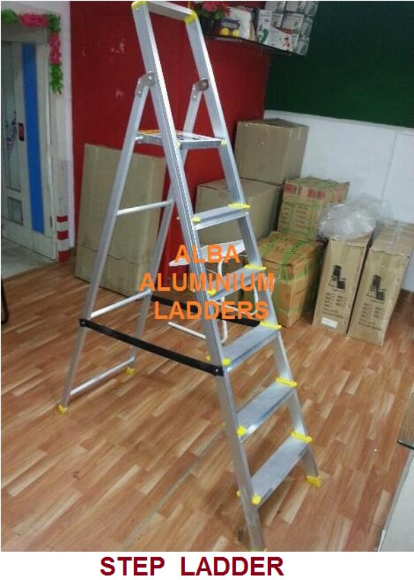 Domestic ladders Step Ladder in hyderabad Model No: 0100 This folding aluminum step ladder in balanagar adopts light weight design and it can be used easily by women, the ropes between front and rear frame provide more strength for the ladd - by Alba Aluminium Ladders, Hyderabad