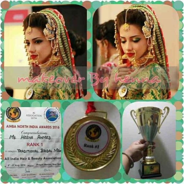 AIHBA India awards 2016... traditional bridal makeup category gold medal, Hena Ahmad - by Bridal Makeup Artist | 9899473900, Delhi