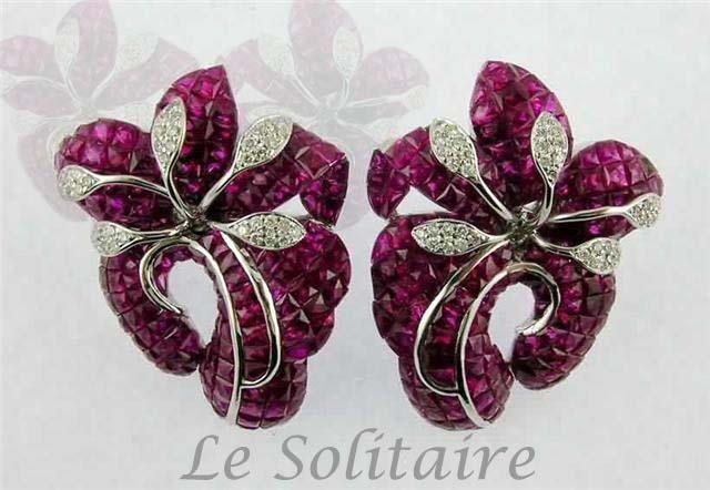 Tulip Flower Ruby And Diamond Earring In Invisible Setting For Further Details Visit- www.lesolitaire.in - by Le Solitaire, New Delhi