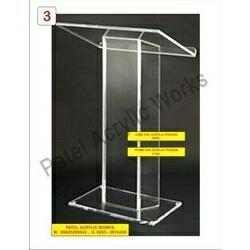 we are patel acrylic manufacturer of Acrylic Curved Podium in Vadodara Gujarat.