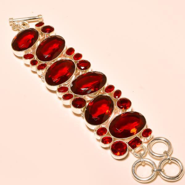 Bracelet 925 Silver, In India Faceted Garnet Gemstone - by Ahan Jewels, Jaipur