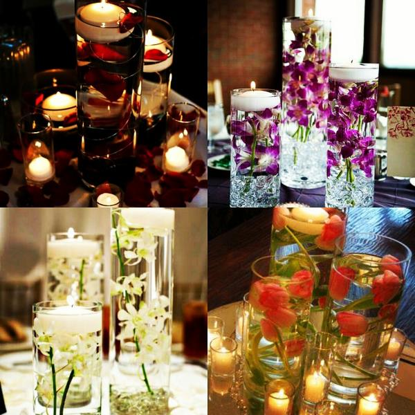 Table centerpieces with elegant vases.  Design your get together with candles, roses, Orchids and Tulips - by Pankhuri Florist, Kanpur Nagar