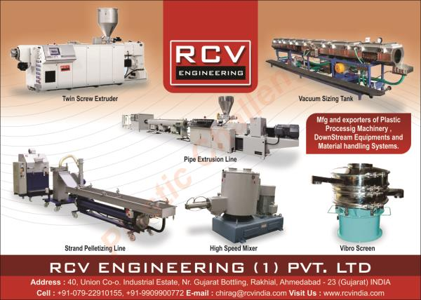 RCV Engnineering india private limited , Twin Screw Extruder, Single screw extruder, Conical twin Screw Extruder Manufacturers in ahmedabad,  for more info Call us on +91 9510010091  or email us  : info@rcvindia.com visit our website . www.rcvindia.com
