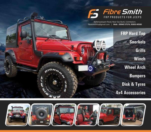 Fibre Smith, A well-known Manufacturer and Supplier of Fibre Reinforced Plastic (FRP) products. We offer a wide range of FRP products that includes Jeep FRP Hard Tops, FRP Front grills, FRP wheel arch, 4 x4 Accessories for jeep. mahidra tha - by Fibre Smith, Coimbatore
