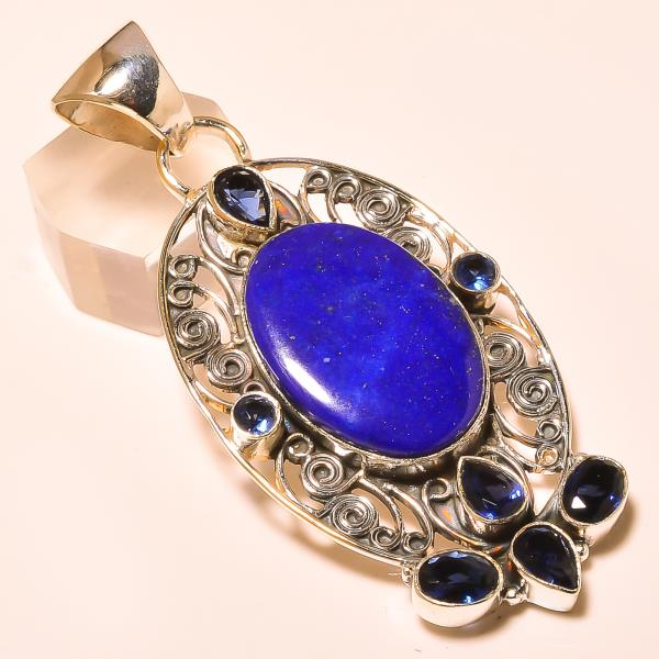 Pendant Silver Pendant lapis lazuli gemstone pendant in india - by Ahan Jewels, Jaipur
