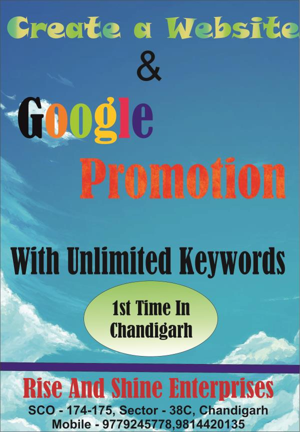 Promote your business with .com on Google front page with unlimited keywords in all states of India. You can also promote on local area. Now we are in Chandigarh, kala amb, Mohali & panchkula. We create a website and promote your website on - by CALL 9779245778 DYNAMIC WEBSITE, Chandigarh