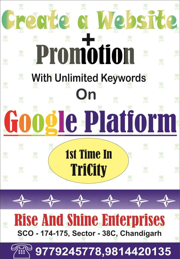 In this modern world, grow your business with .com in Chandigarh, Mohali, Panchkula and all over India. In one plate farm, we are create a website and Google promotion with unlimited keywords. You are on Google front page with website. We a - by CALL 9779245778 DYNAMIC WEBSITE, Chandigarh