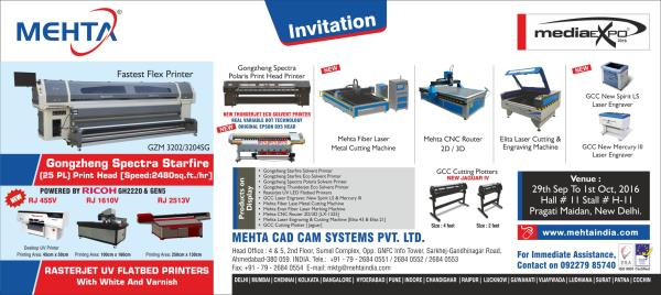 Mehta Cad Cam Group Cordially Invites to Attend Media Expo-Delhi:  From 29th September To 1st October, 2016.   Venue: Pragati Maidan, New Delhi. Hall No: 11 Stall No: H-11   - by MEHTA CAD CAM SYSTEMS PVT LTD, Ahmedabad
