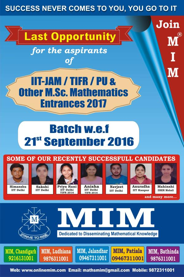 MIM starting New IIT JAM Mathematics Batch from 21st September 2016.   Registrations Opened..!! Limited Seats..!! Call immediately @ 9779670063 or 9216131001 for details. - by MIM CSIR UGC NET Mathematics 9876311001, Chandigarh