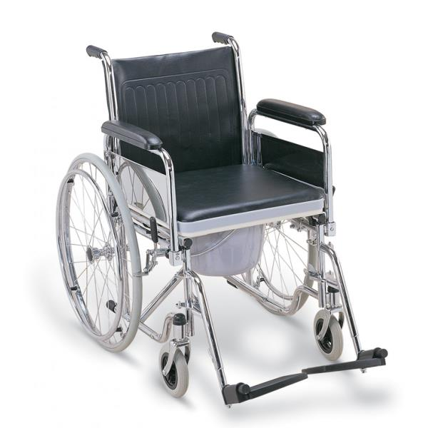 BILATERAL HAND DETACHABLE & ELEVATED FOOT REST FOLDABLE COMMODE WHEEL CHAIRS 681
