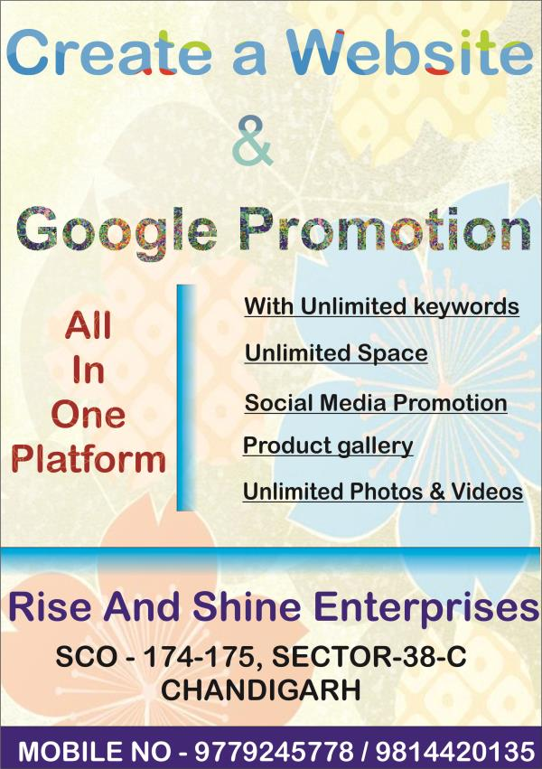 offer offer ...!!!! Free SEO with website. hurry up!!.... We can promote your business in any location of India with unlimited keywords.unlimited space. you can upload unlimited photos in website. We promote your small business in big level - by CALL 9779245778 DYNAMIC WEBSITE, Chandigarh