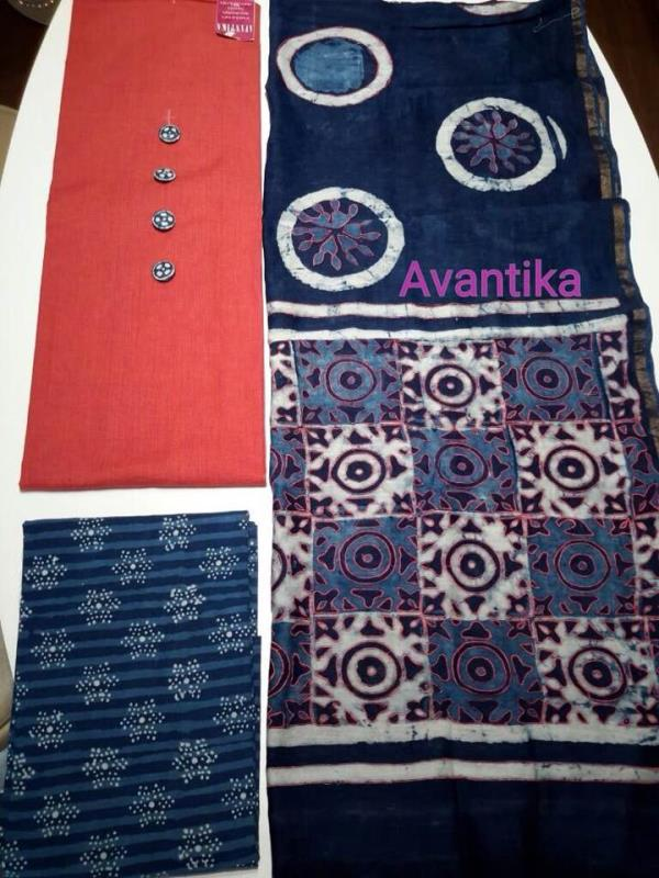 Once more we bring to you all the very much loved maheshwari indigo embroidered dupatta paired with cotton khaadi kurta with custom made button and pure indigo dabu salwar.  Top and Bottom: approx 2.5 mtr cut  Buy online now ! - by Avantika, Ahmedabad - Gujarat