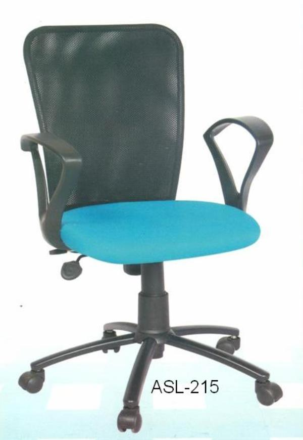 Office Chair. Model: AS-215: Mesh back revolving chair with with 40 density molded foam for seat and nylon mesh back rest, push back mechanism for back reclining, gas lift for height adjustment, nylon base with Taiwan castor wheel. Warranty - by ACCURATE SEATING SYSTEMS, Bangalore
