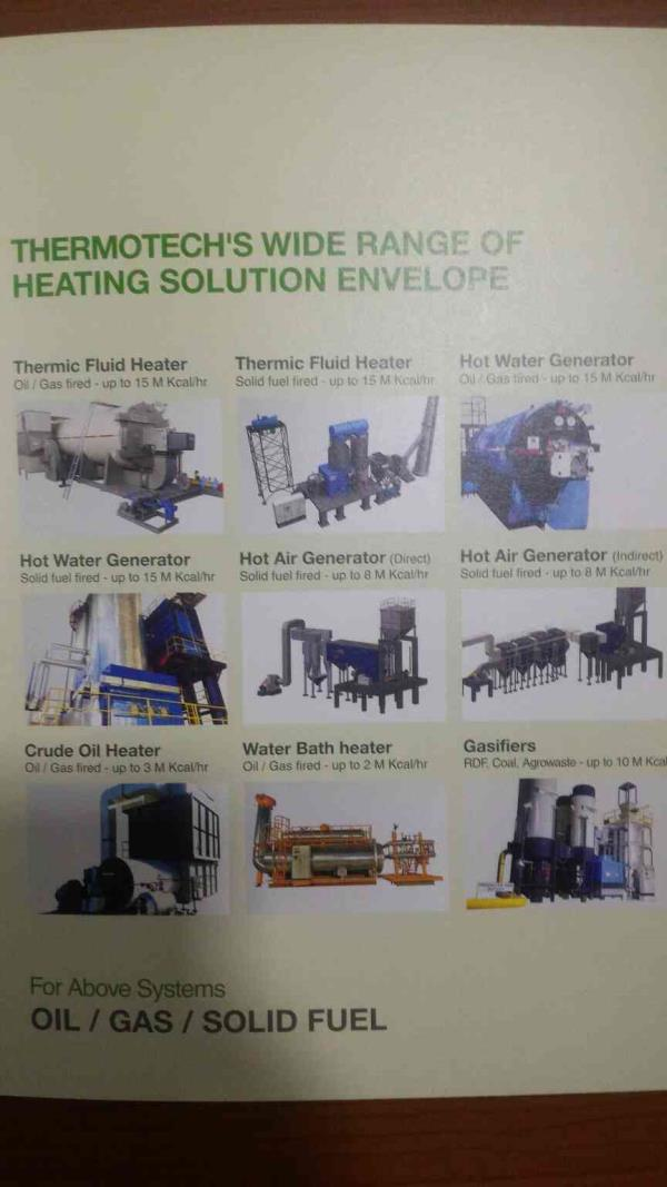 Products Range of Thermotech Systems Limited   Thermic fluid heater manufacturer in Ahmedabad. Hot Air Generator etc...