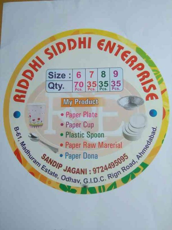 Riddhi Sindhi Enterprise is the leading manufacturer and supplier of best quality Paper cups,  Plastic Spoon,  paper plates and paper bowl.